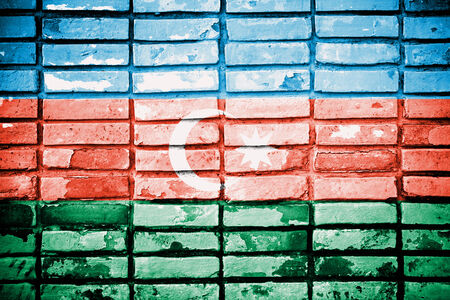 proportional: Azerbaijan painted on old brick wall