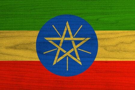 ethiopia abstract: Ethiopia Flag painted on wood
