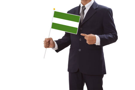 rotterdam: Businessman in suit holding of the Rotterdam City Flag