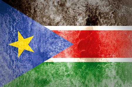 identidad cultural: Bandera del sur de Sud�n, en el papel del grunge
