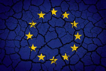 Europe Union flag painted on cracked ground  photo