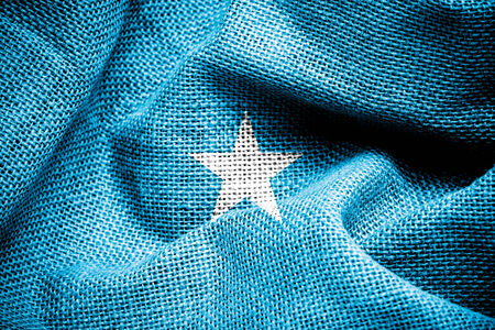 Texture of sackcloth with the image of the Somalia flag  Stock Photo