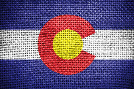 colorado flag: Texture of sackcloth with the image of Colorado Flag