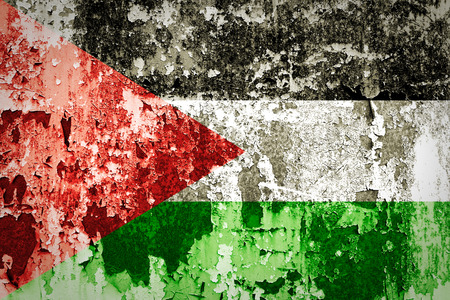 palestinian: Palestinian flag painted on steel wall  Stock Photo