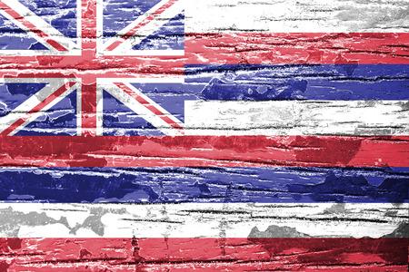 hawaii flag: Hawaii Flag painted on grunge wood background