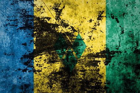 grenadines: Saint Vincent and the Grenadines Flag on dirty paper