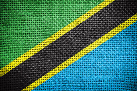 sackcloth: Texture of sackcloth with the image of Tanzania Flag  Stock Photo