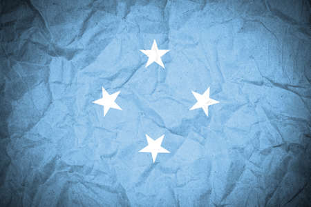 archipelago: Micronesia flag on crumpled paper