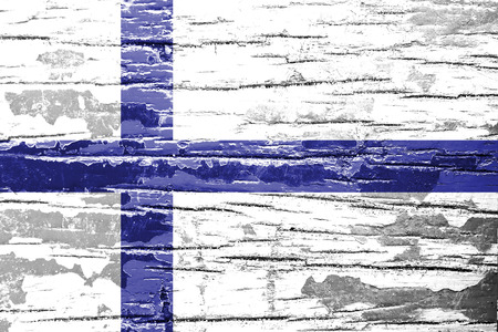 finland flag: Finland Flag painted on old wood background