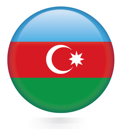 azerbaijan: Azerbaijan flag button  Illustration