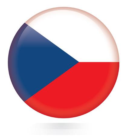 czech flag: Pulsante bandiera ceca Vettoriali