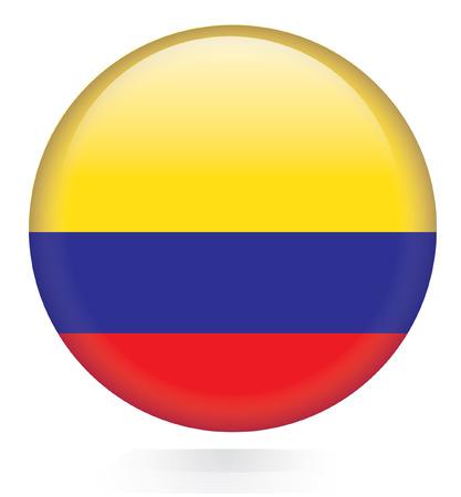 コロンビアの旗ボタン  イラスト・ベクター素材