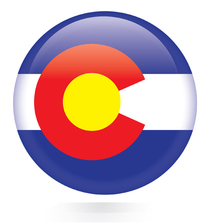 Colorado flag button  Vector