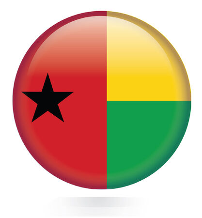 Guinea Bissau Flag button  Vector