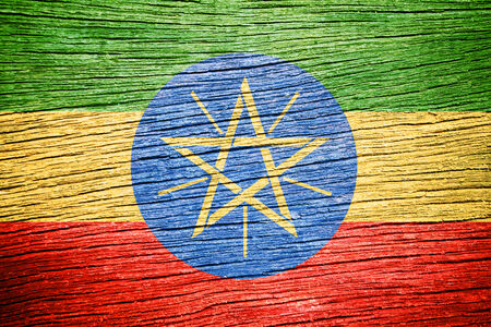 ethiopia abstract: Ethiopia Flag painted on wood texture  Stock Photo