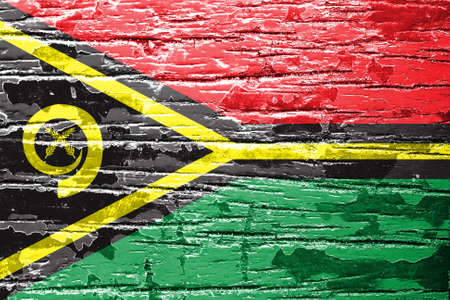 vanuatu: Vanuatu Flag painted on old wood background