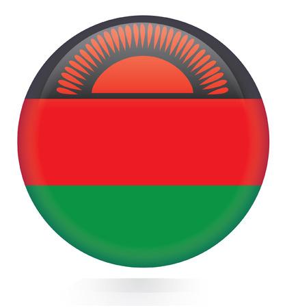 malawi flag: Malawi flag button  Illustration