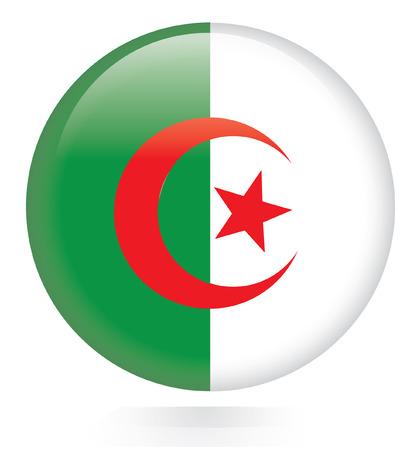 algeria: Algeria flag button  Illustration