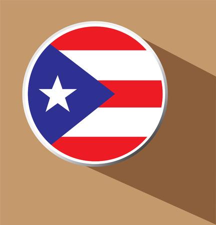 rican: Icono del bot�n de Puerto Rico con una larga sombra - Vector Vectores