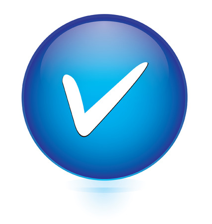 check mark sign: Blue glossy button with check mark sign  Illustration