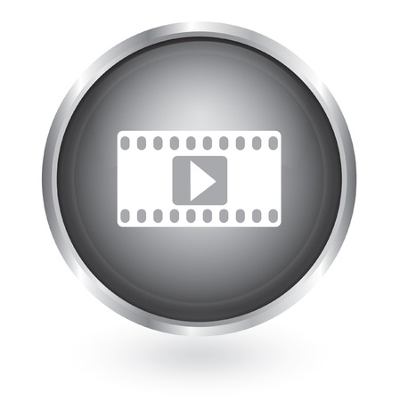 Play video icon glossy button  Vector
