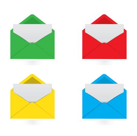 urgently: Colorful envelopes with white notes Illustration
