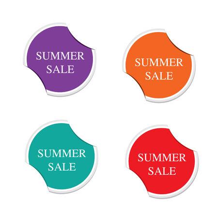 Summer sale icon, round stickers  Vector