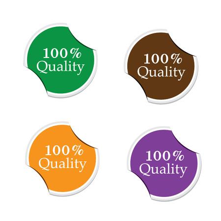 100 Percent quality, round stickers  Ilustrace