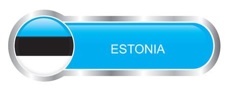 Estonia Flag glossy banner  Vector