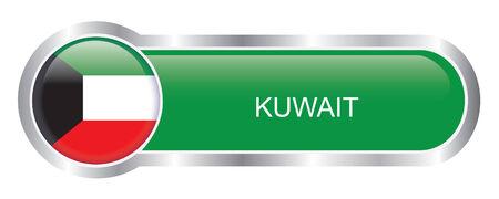 Kuwait Flag glossy banner  Vector