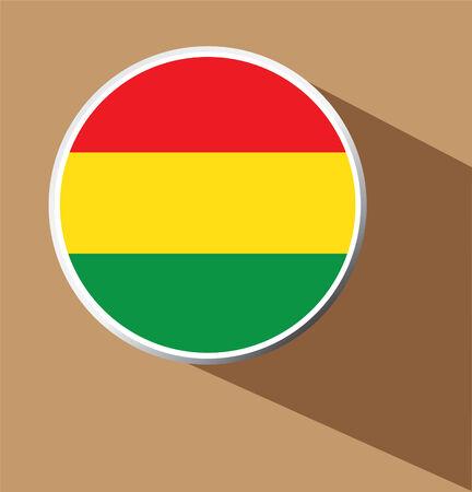 bandera de bolivia: Vector - Bolivia icono del bot�n de la bandera con una larga sombra