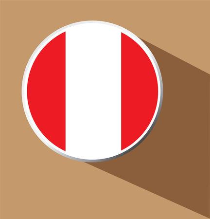 Vector - Peru button icon with long shadow  Vector