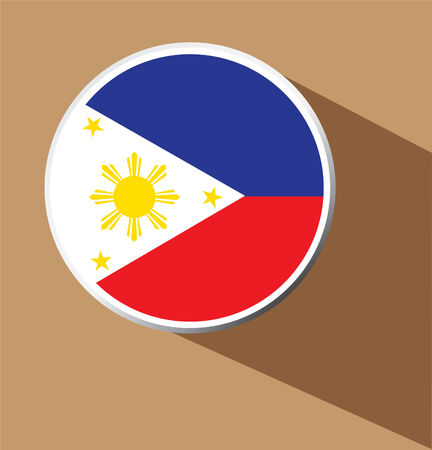 filipino: Vector - Philippines button icon with long shadow
