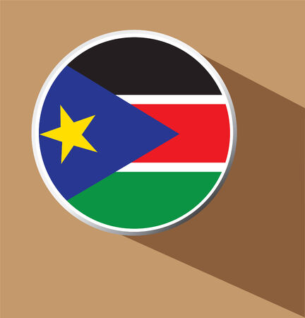 South Sudan flag button icon with long shadow  Vector