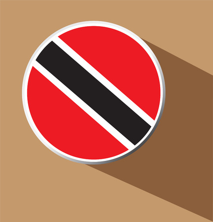 trinidadian: Trinidad Flag Button Icon with long shadow  Illustration
