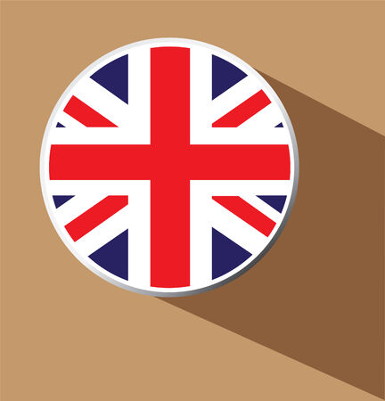 Union Jack flag button icon with long shadow  Vector