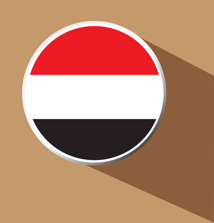 yemen: Yemen Flag Button Icon with long shadow