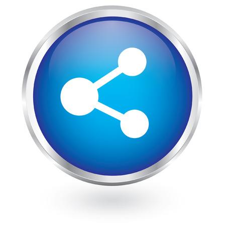 regular tetragon: Database circular icon glossy button  Illustration