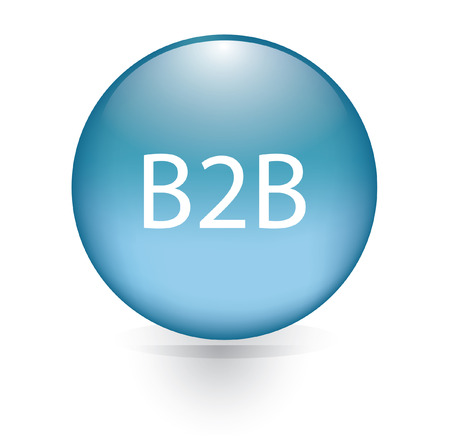 b2b computer blue button Vector