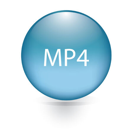 MP4 blue button  Vector