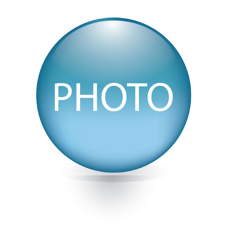 newest: Photo word blue button