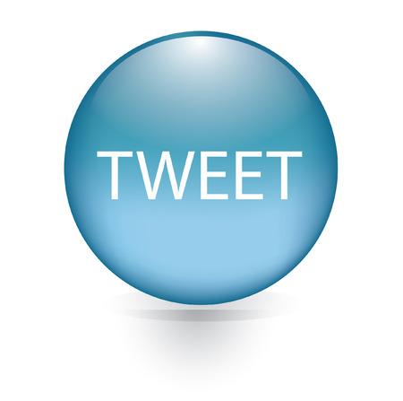 tweet: Tweet word blue button  Illustration