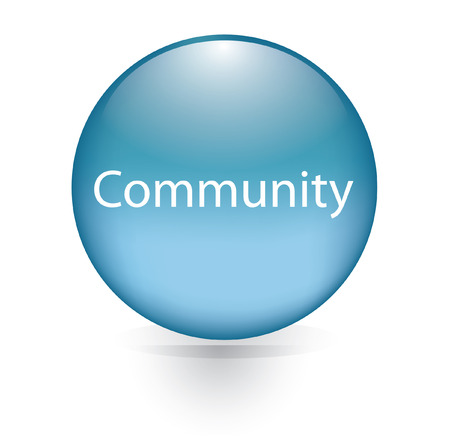 Community word blue button  Vector