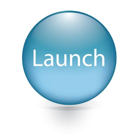 Launch word blue button  Vector
