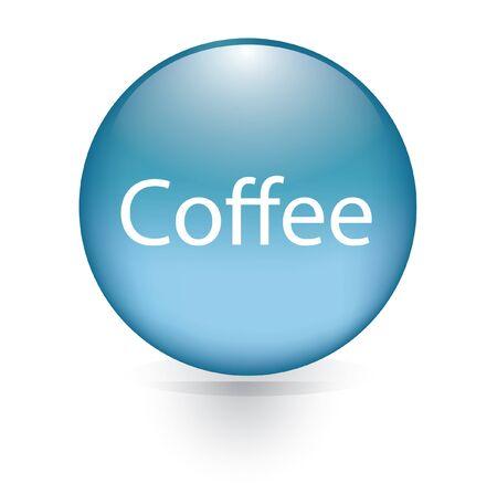 microblogging: Coffee word blue button  Illustration