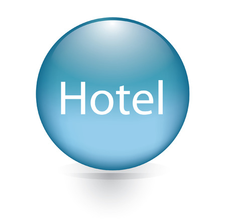 Hotel word blue button