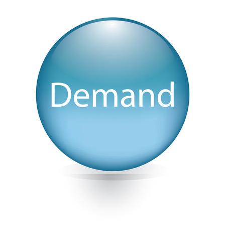 on demand: Demand word blue button  Illustration