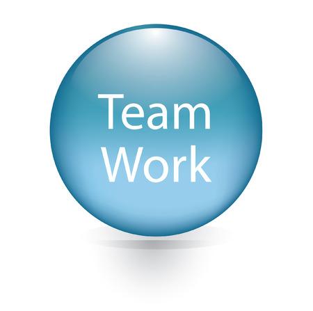 Team work word blue button  Vector