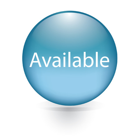 Available blue circular button Vector