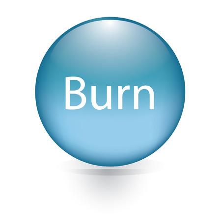 Burn word blue button  Vector
